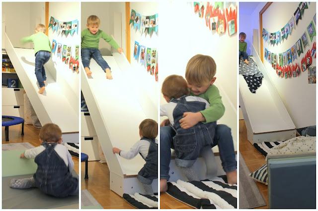 Trampolin Toben Brueder im Winter Kinderzimmer Spielideen Hoehlen bauen Kuschelecke Spielideen im Winter Jules kleines Freudenhaus
