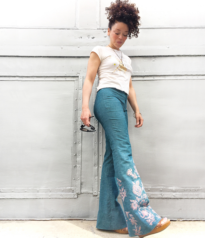 oonaballoona | by marcy harriell | embroidered birkin flares