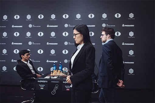 Le Français Maxime Vachier-Lagrave (2795) et la Chinoise Hou Yifan (2652) - Photo © Max Avdeev