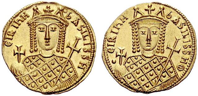 sólido bizantino de Constantino VI e Irene