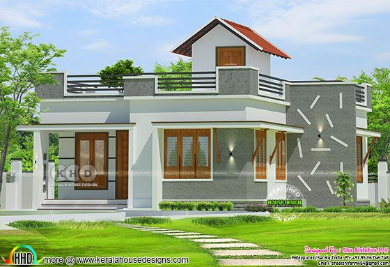 993 square feet one floor 2 bedroom Kerala home design