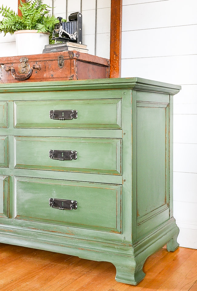 green painted chippy milk painted dresser