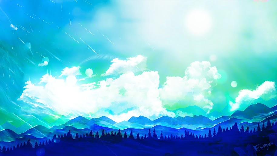 Minimalist Clouds Mountains Forest 4k 3840x2160 Wallpaper 16