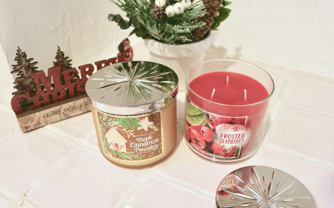 Huge Bath & Body Works Christmas Haul 3 Wick Candles Maple Cinnamon Pancakes & Frosted Cranberry