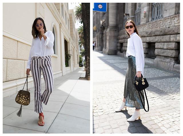 Белая рубашка с брюками в полоску и с юбкой