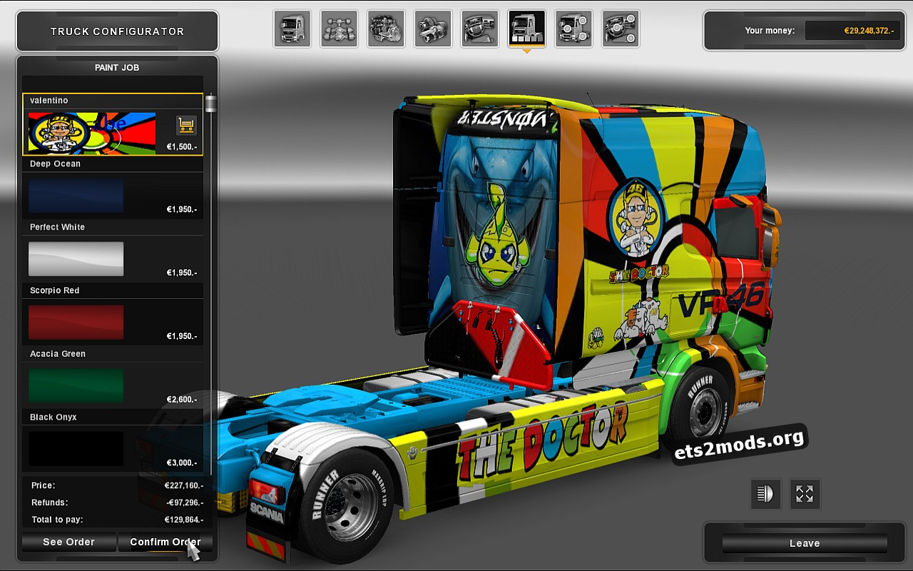 Scania RJL Valentino Rossi Skin