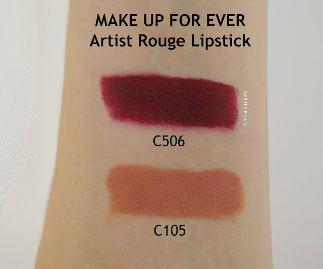 MAKE UP FOR EVER Artist Rouge lipstick C506 C105 review swatches arm swatches