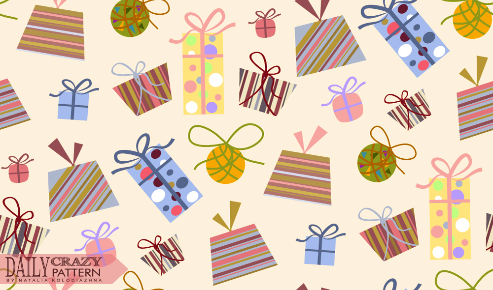 Pattern with cute gift boxes