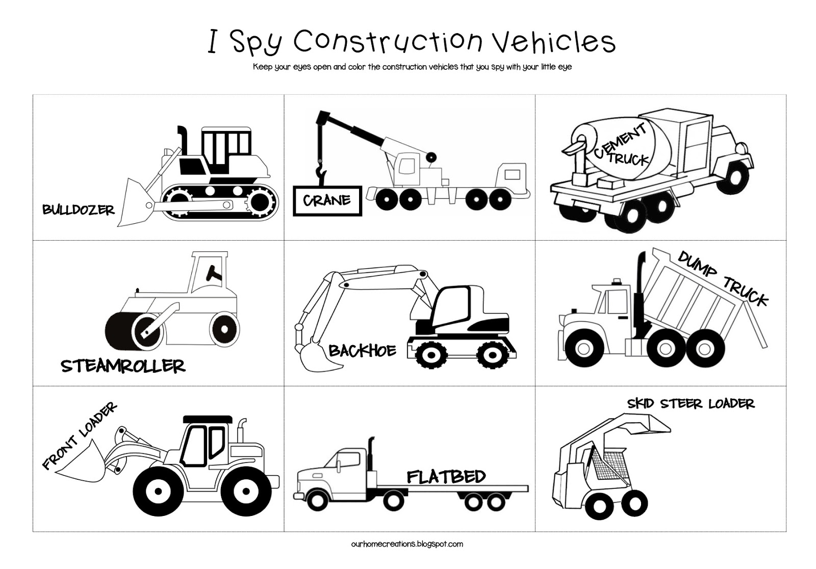 Ourhomecreations Free Road Trip Game I Spy Construction Vehicles