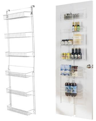 embody more light 15 white 5 39 over the door storage basket rack. Black Bedroom Furniture Sets. Home Design Ideas