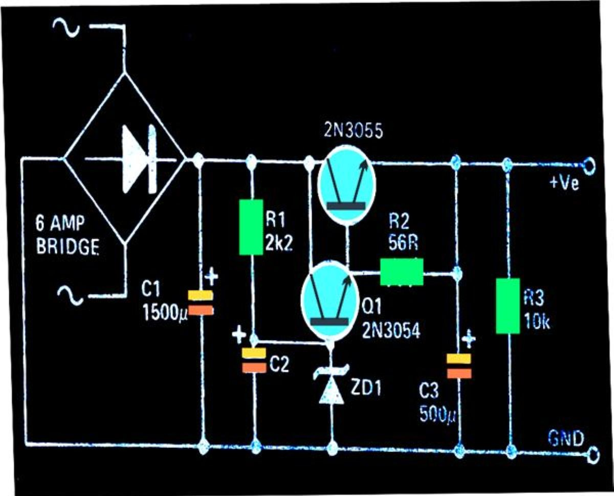 dc regulated power supply circuit diagram autometer electric water temp gauge wiring high current ripple free
