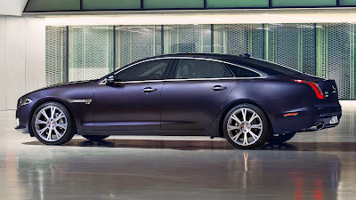 Jaguar XJ premium luxury sedan purple color hd image