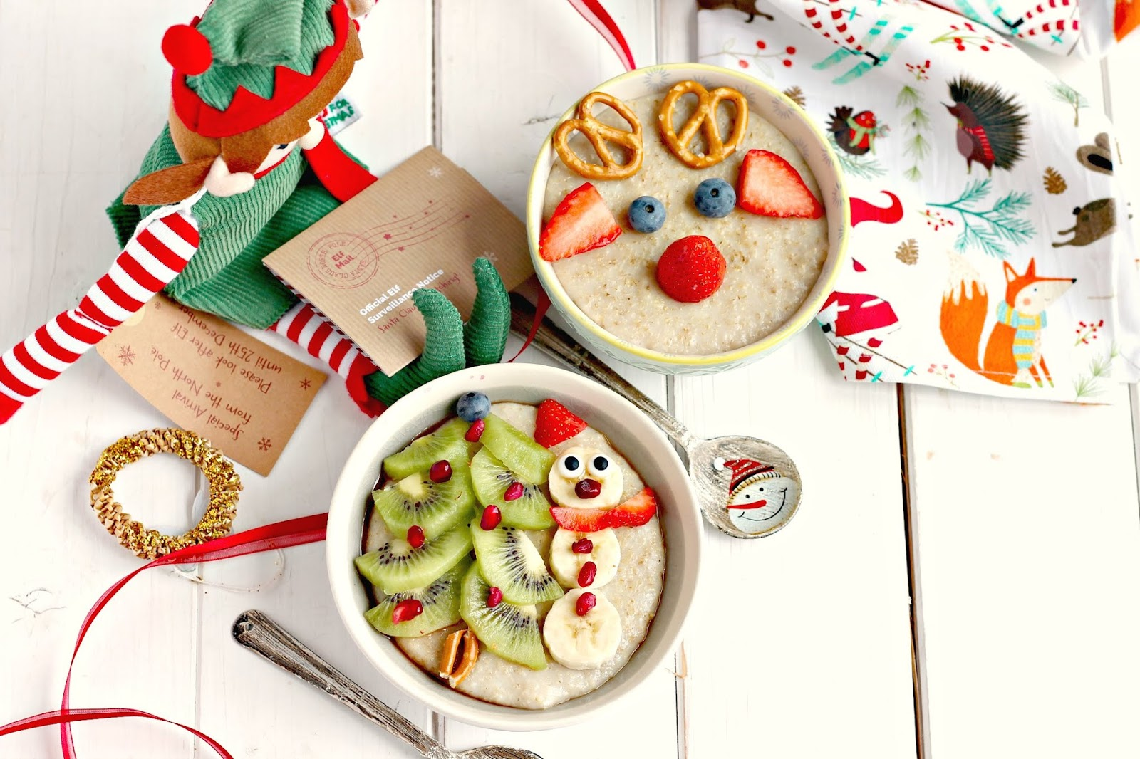 Slow Cooker Snowman and Reindeer Christmas Porridge