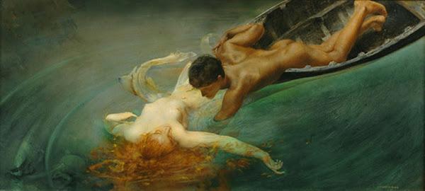 Siren or The Green Abyss by Giulio Aristide Sartorio, Classical mythology, Greek mythology, Roman mythology, mythological Art Paintings, Myths and Legends