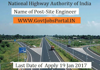 National Highways Authority of India Recruitment 2017 For Site Engineer Officer Post