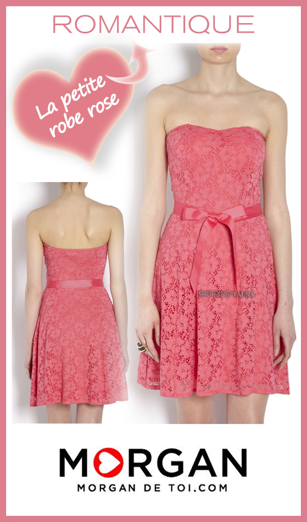 Robe rose glamour et bustier en dentelle stretch MORGAN