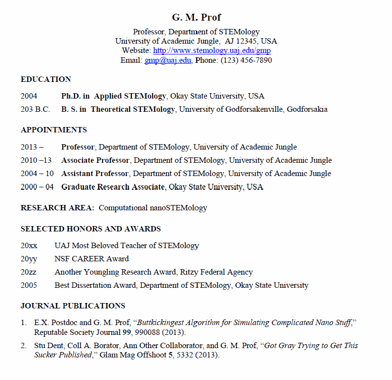Academic Curriculum Vitae Sample. Resume Vs Vita Intervention