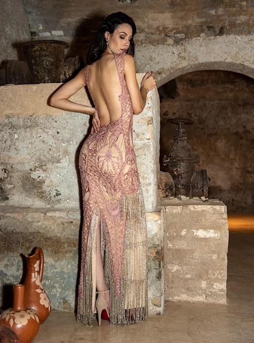 vestido de festa longo bordado rose gold
