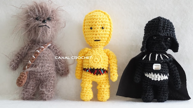Free Star Wars Crochet Patterns chewbaka c3po darth vader