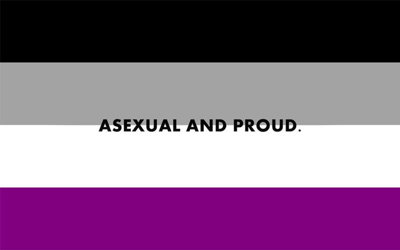 """Na imagem: bandeira assexual (faixas das cores preta, cinza, branca e roxa) escrito em cima """"asexual and proud"""""""