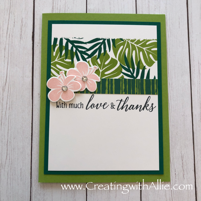 Check out the video tutorial showing you how to make a quick and easy card, where I show you tips and tricks for using Stampin Up's Tropical Chic Bundlel!  You'll love how quick and easy this is to make!  www.creatingwithallie.com #stampinup #alejandragomez #creatingwithallie #videotutorial #cardmaking #papercrafts #handmadegreetingcards #fun #creativity #makeacard #sendacard #stampingisfun #sharewhatyoulove #handmadecards #friendshipcards