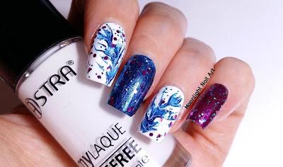 BLUE & PURPLE DRAG MARBLE NAIL ART