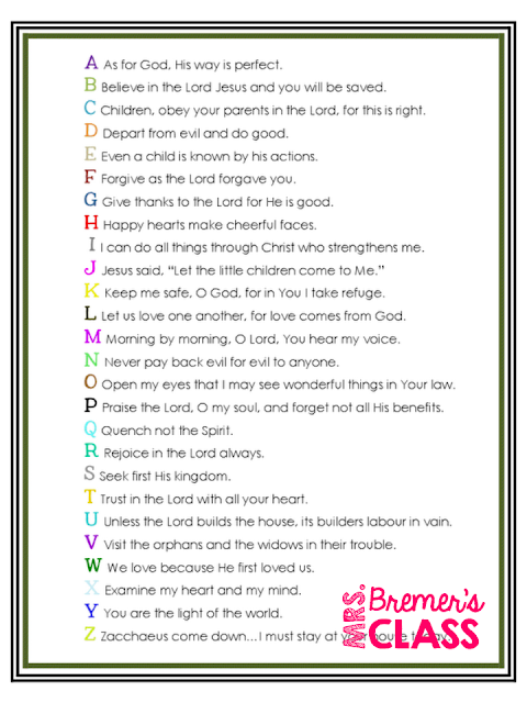 FREE Download: Bible Verses in ABC Order for Young Children