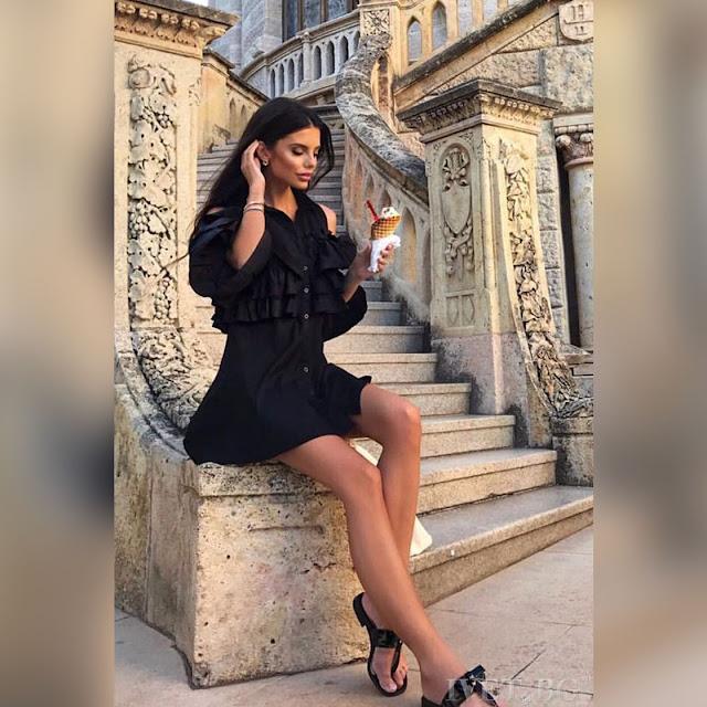 Μοντέρνο  κοντό μαύρο φόρεμα NADIA BLACK
