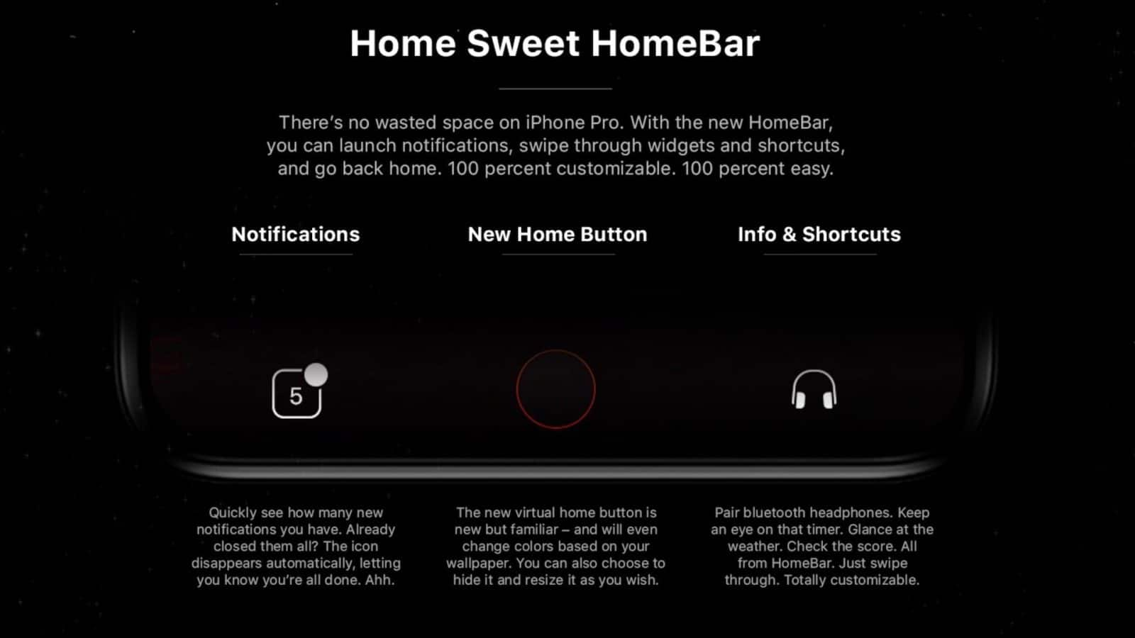 "Here's a new concept by John Calkins that imagines a ""HomeBar interface"" for iPhone 8/Pro running iOS 12."