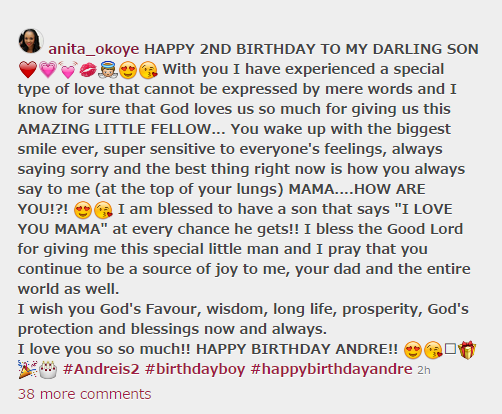 anita okoye sends a lovely message to son as he celebrates 2nd