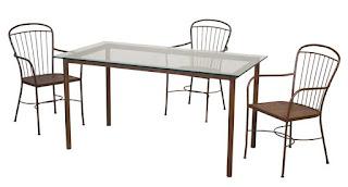 Mesa rectangular y sillas de forja