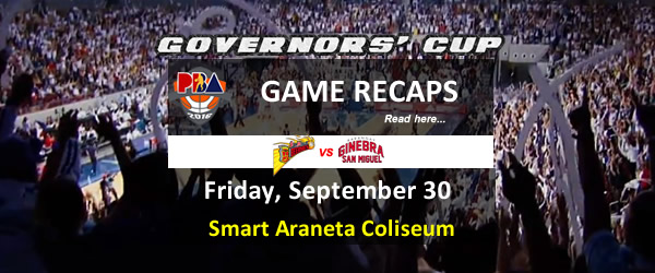List of PBA Game Friday September 30, 2016 @ Smart Araneta Coliseum