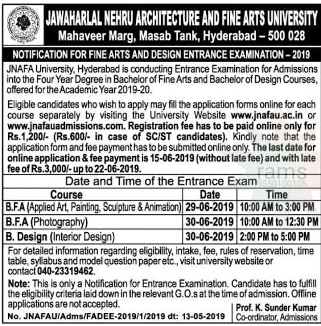 JNAFA University FINE ARTS AND DESIGN ENTRANCE EXAMINATION - 2019 JNAFAU 2019 Application, Exam Pattern, dates , Eligibility, Syllabus | JNAFAU Admission 2019/ JNAFAU Entrance Exam 2019: Notification, Dates, Eligibility, Form, Merit List, Fee, Seat Matrix & Counselling | FINE ARTS AND DESIGN ENTRANCE EXAMINATION - 2019/2019/05/JNAFA-University-FINE-ARTS-AND-DESIGN-ENTRANCE-EXAMINATION-Notification-apply-online-2019-www.jnafauadmissions.com.html