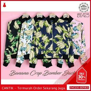 FNC230B65 Banana Crop Bomber Jacket Wanita Full Print Serba 50 Ribuan