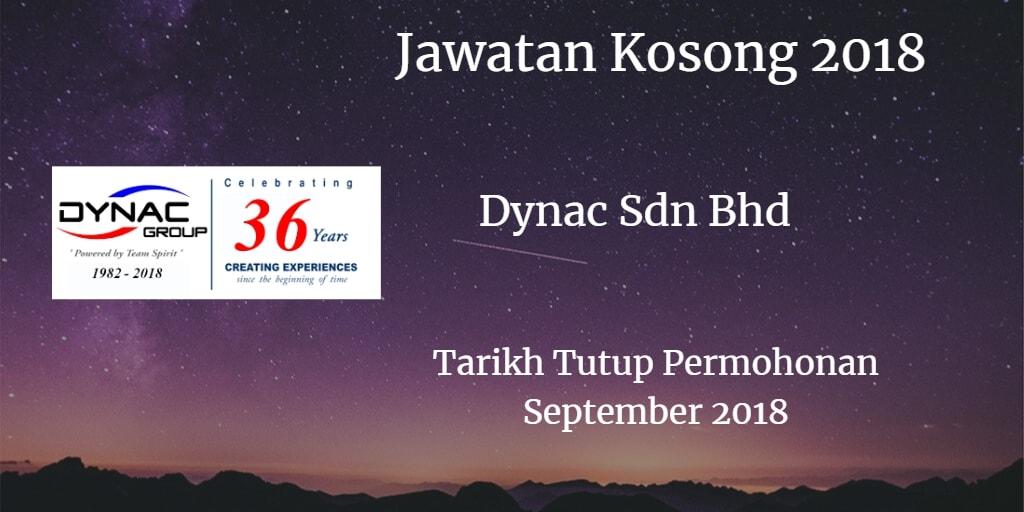 Jawatan Kosong DYNAC SDN BHD September 2018