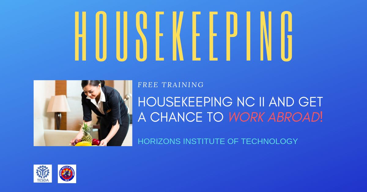 Free Housekeeping NC II by HIT 2019  (WORK ABROAD)