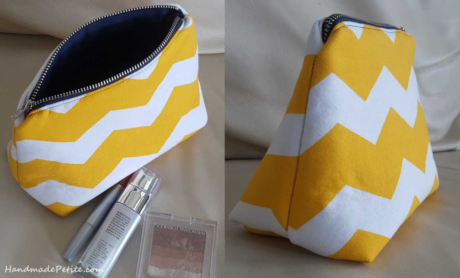 Chevron white yellow and navy makeup bag