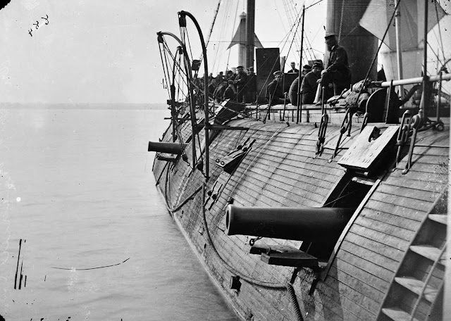 The Federal Ironclad Galena, after recent action with Confederate batteries at Drewry's Bluff, on Virginia's James River, ca. 1862.