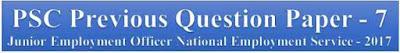 PSC Previous Question Paper - Junior Employment Officer National Employment Service - 2017