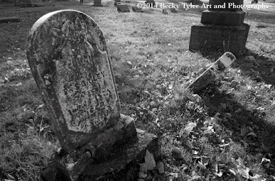 Cemetery Tombstone, Black and White Photography