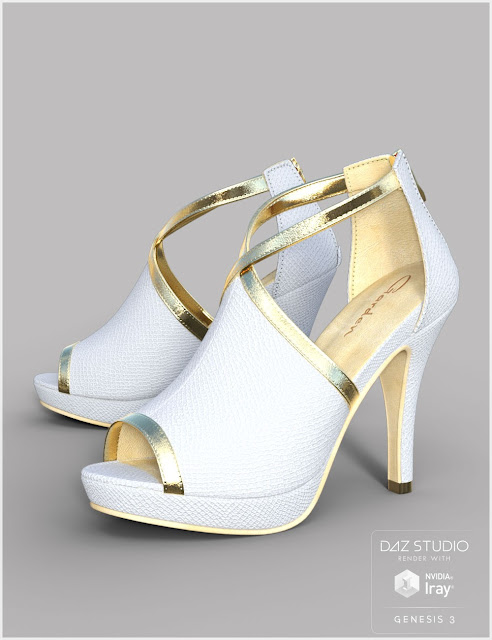 Black Gold Heels for Genesis 3 Female