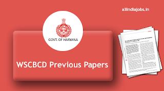 WSCBCD Haryana Clerk Previous Papers