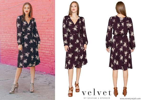 Princess Marie wore Velvet by Graham & Spencer Pomona Floral Printed Challis Wrap Dress