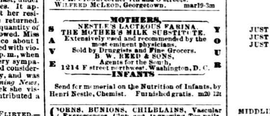 Nestlé advertisement 1872