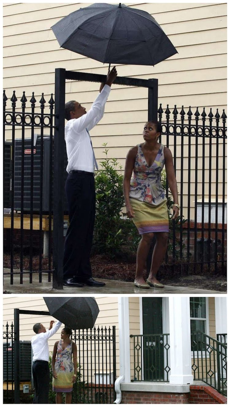 Obama and Michelle in the rain with an umbrella
