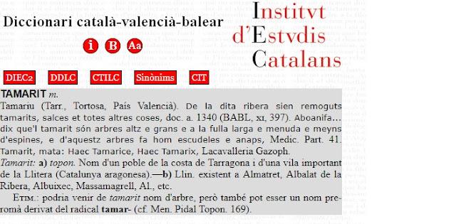 tamarit, En el DCVB aparece País Valencià, Catalunya aragonesa, Països Catalans
