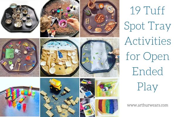 images of tuff spot tray activities with text 19 tuff spot tray activities for open ended play