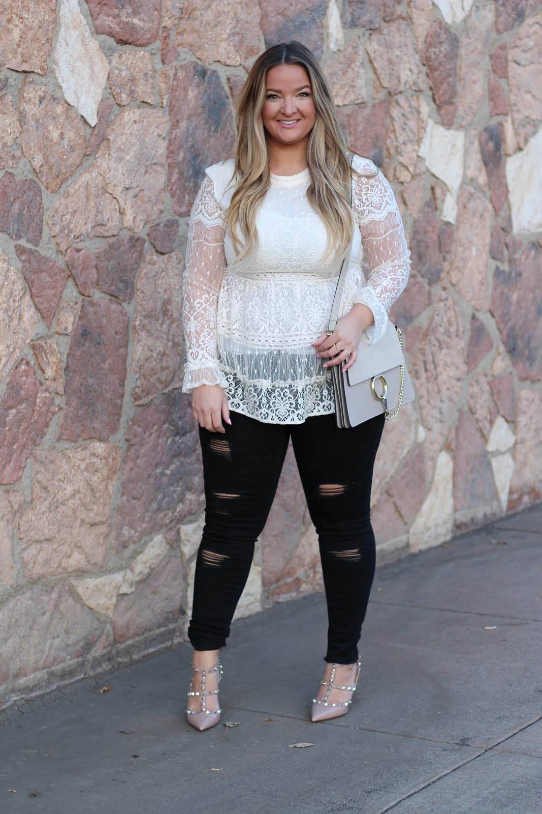 white lace top by popular Denver fashion blogger Delayna Denaye