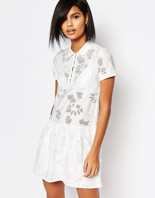 vero moda white collar dress, white collar drop hem dress,