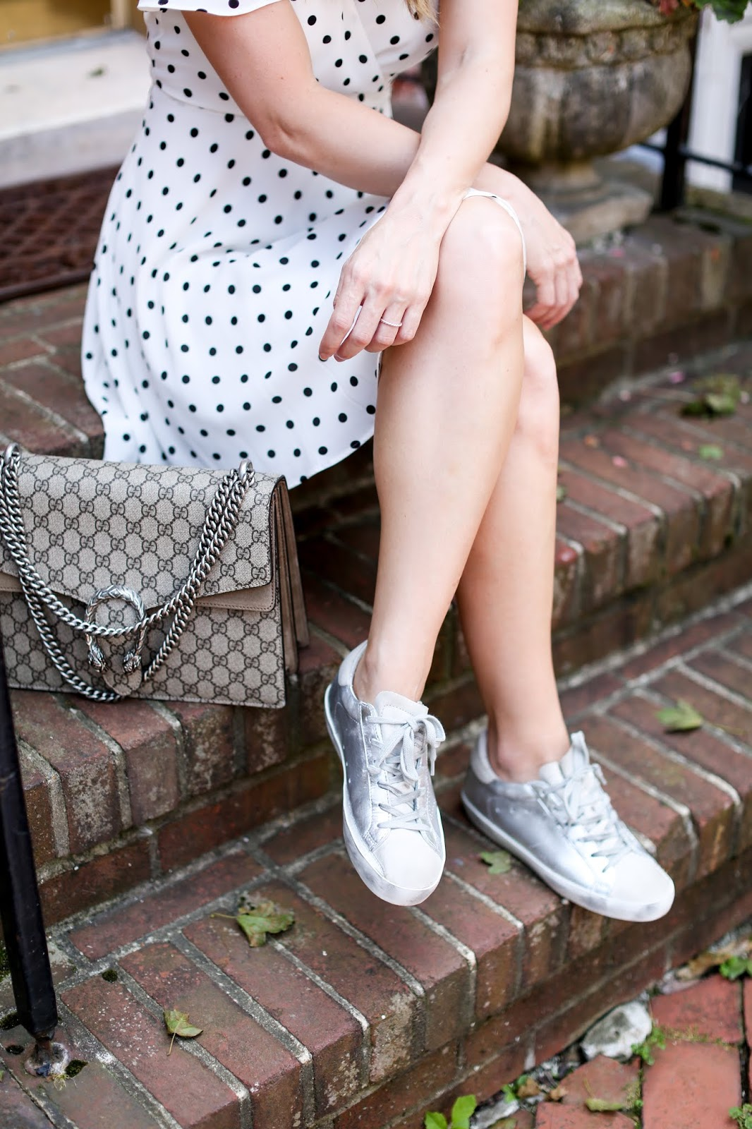 so I threw on my new Golden Goose sneakers that I snagged on super sale (this was the site but they are sold out now) and love how cute the whole ensemble looked! I've talked about my love for Golden Goose sneakers many times (I have two other pairs - see those here and here) not only because the designs and colors are everything